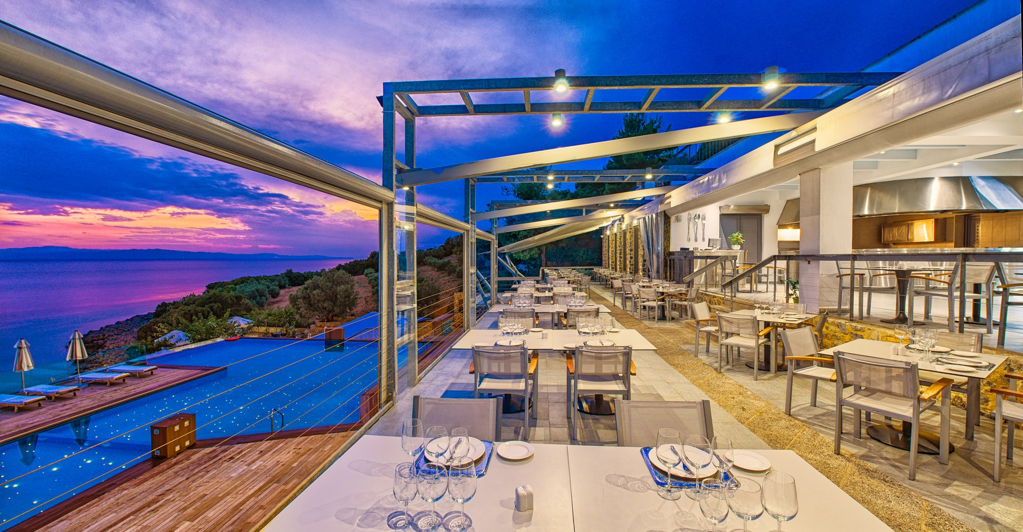 skopelos hotels adrina resort dinner restaurant