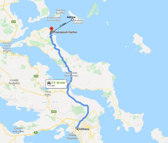 skopelos map water taxi